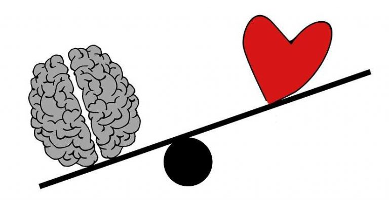Spiritual development, mind and heart are on the scales the brain weighs more