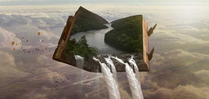 עולם פנימי ועולם תת מודע, ספר פתוח בתוכו אגם ממנו נשפכים מפלים מחוץ לספר