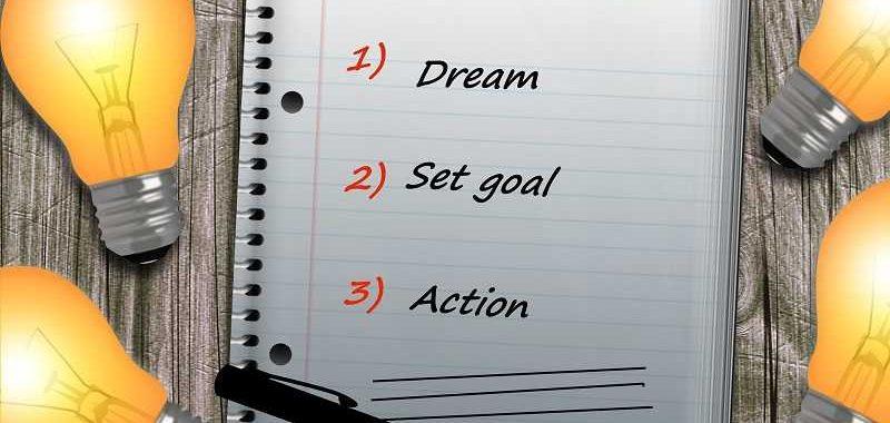 כח הרצון, מחברת ועליה כתוב באנגלית חלום, מטרה, פעולה