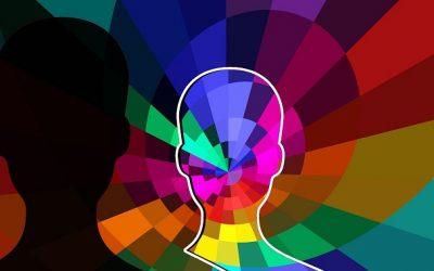 רגשות שליליים, שרטוט של ראש בצבעים שמוקרנים ממנו
