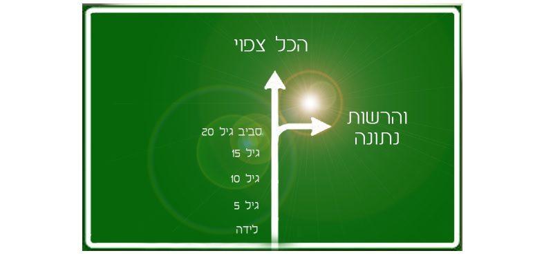 הכל צפוי והרשות נתונה שלט דרכים ירוק עם חץ קדימה למילים הכל צפוי וחץ ימינה למילים רשות נתונה