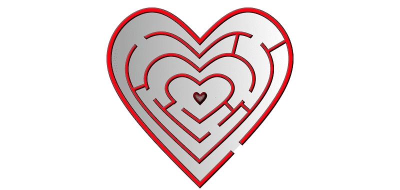 רצון, לב אדום שהוא מבוך שמוביל ללב קטן במרכזו